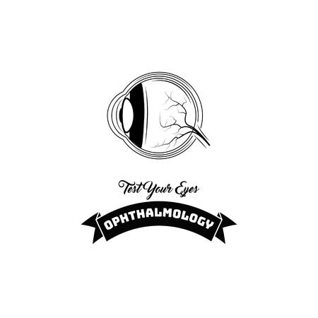 Human eye anatomy. Ophthalmology logo label emblem. Test your eyes lettering. Eye icon. Vector illustration