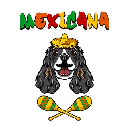Cocker Spaniel dog. Mustache, Maracas, Sombrero. Mexico symbols. Mexicana inscription Dog breed Vector illustration Ilustrace