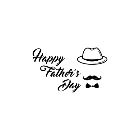 Happy Fathers Day. Bowler hat, Mustache, Bow tie. Poster greetings in retro style. Vector illustration Illustration
