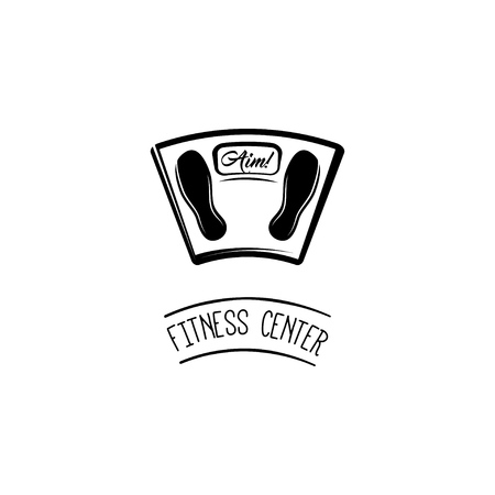 Weight Scale. Fitness center emblem logo label. Floor scale. Vector illustration