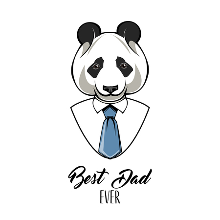 Panda dad. Fathers day card. Best dad ever inscription. Panda bear wearing in mens shirt and tie. Vector illustration 일러스트