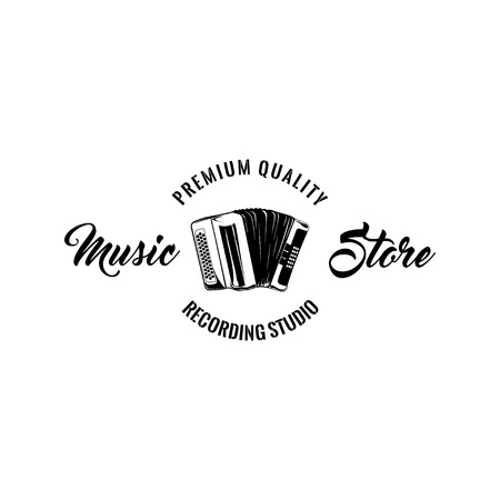 Classical bayan (accordion) icon. Music store label logo. Recording studoi. Vector illustration