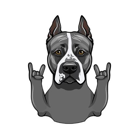 Staffordshire terrier. Horns, Rock gesture. Dog breed. Vector illustration 向量圖像