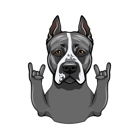Staffordshire terrier. Horns, Rock gesture. Dog breed. Vector illustration Illustration