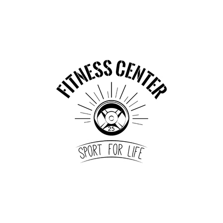Fitness center logo badge design illustration. Illustration
