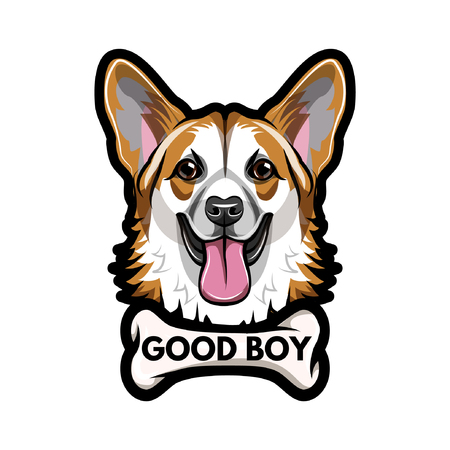 Weish corgi with a Bone and Good boy lettering. Illustration