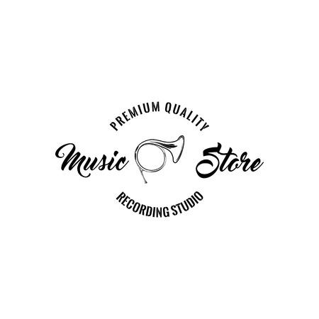 Horn trumpet icon. Music store logo label. Music shop emblem. Premium quality lettering. Musical instrument. Vector. Stock Vector - 100359228