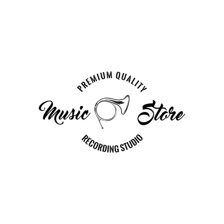 Horn trumpet icon. Music store logo label. Music shop emblem. Premium quality lettering. Musical instrument. Vector. Illustration