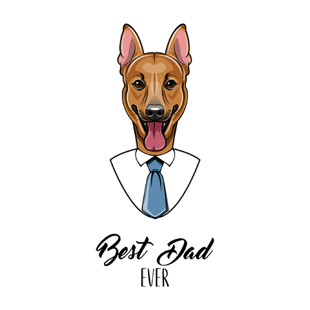 German Shepherd dad, Fathers day greeting card. Best dad ever lettering with Mens shirt, Necktie.