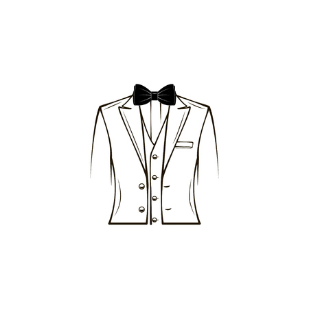 Wedding mens suit, tuxedo, elegant costume. Bow tie. Groom. Fathers day greeting card design. 일러스트