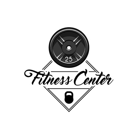 Barbell disks, Kettlebell. Fitness center label logo emblem. Sport equipment. Vector illustration