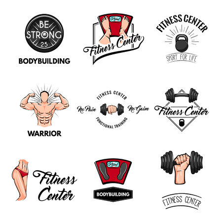 Fitness center labels set. Barbell, kettle bell, bodybuilder, athletic body, floor scale icons. Sport tools gym equipment vector illustration.