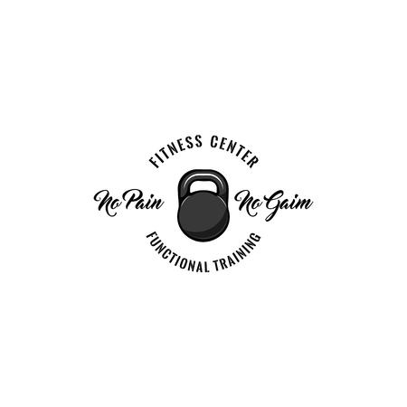kettlebell icon. Fitness center badge logo label. No pain No gain lettering. Sport icon. Vector illustration Stock Vector - 100347215