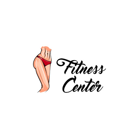 Sport female body. Fitness center logo emblem label. Athletic body. Weight loss icon. Vector illustration