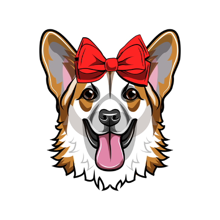 Dog head with a red bow illustration Illustration