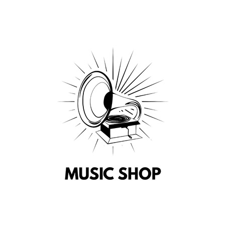 Gramophone icon. Music shop logo. Vintage musical device. Music store label. Vector illustration