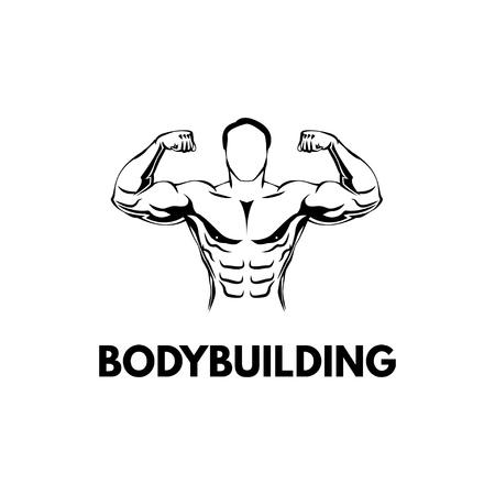 Bodybuilders Silhouette Gym logo Fitness emblem. Illustration