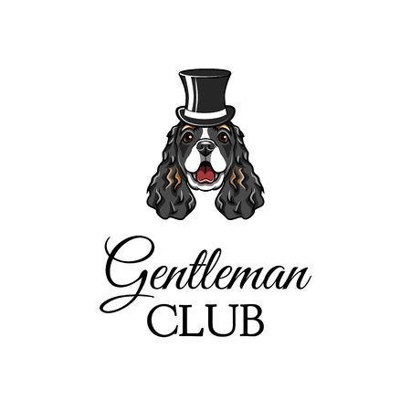 English Cocker Spaniel gentleman. Top hat icon. Gentleman club inscription. Vector illustration Illustration