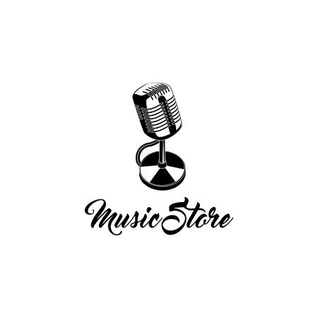 Microphone icon. Music store badge. Karaoke logo. Music shop label emblem. Vector illustration