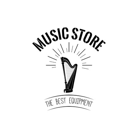 Harp icon Music store logo Music shop label emblem vector illustration Stok Fotoğraf - 100787524
