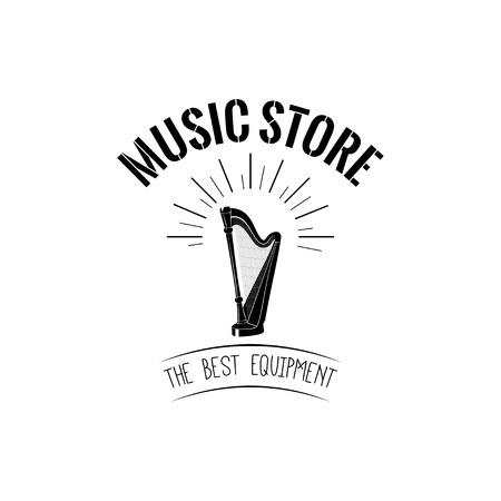 Harp icon Music store logo Music shop label emblem vector illustration