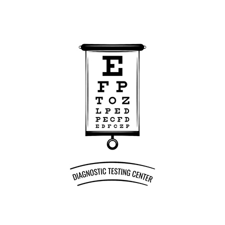 Ophthalmic table visual examination. Diagnostic testing center oculist icon vector illustration.