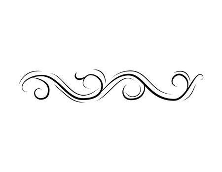 Decorative curl. Swirl. Calligraphic filigree element for design. Page border, divider. Wedding, Christmas card. Vintage decoration. Vector illustration