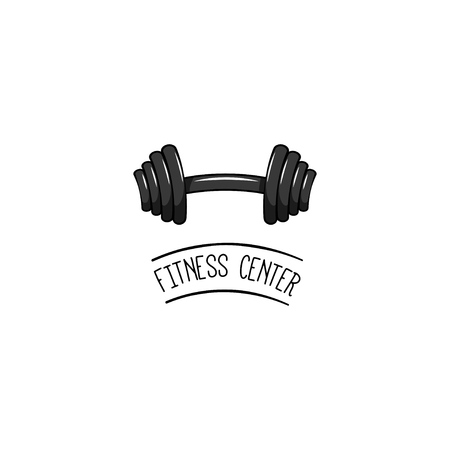 Dumbbell icon Sport equipment Fitness center logo label Vector illustration