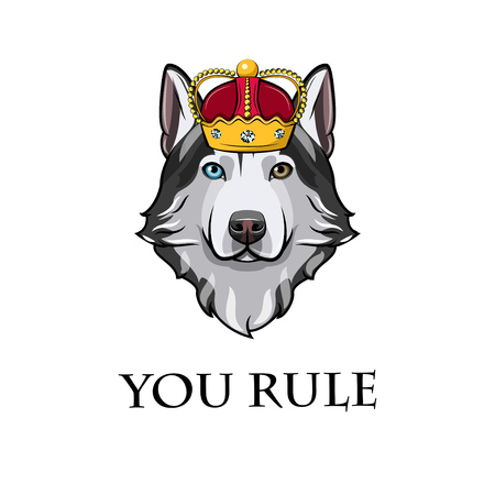 Siberian Husky king. Crown. Dog queen. You rule lettering. Vector illustration