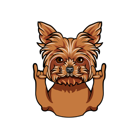 Yorkshire terrier dog doing Rock gesture