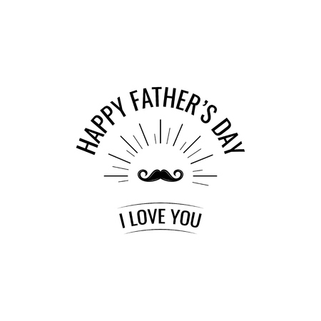 Father's day theme with mustache and inscriptions for greeting card design.