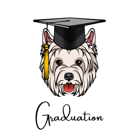 West Highland Terrier silhouette graduate. Graduation cap hat. Dog portrait illustration. Illustration