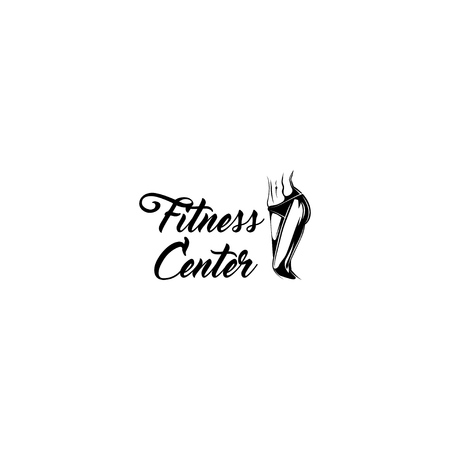 Fitness center label design vector illustration