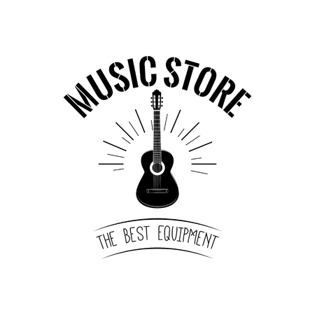 Music store logo vector illustration