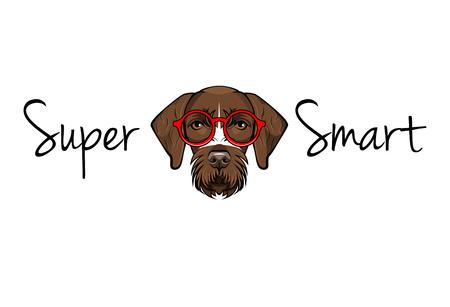 German Shorthaired Pointer nerd. Dog geek. Smart glasses. Super smart lettering. Vector illustration Illustration