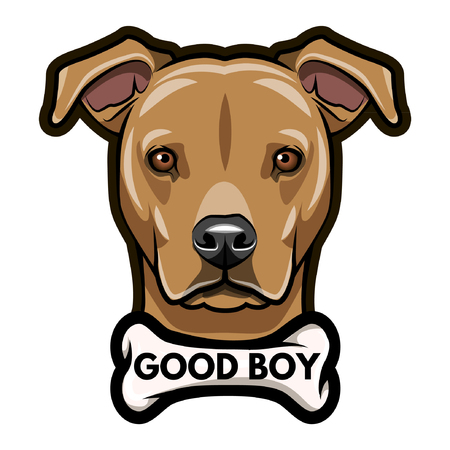 Dog head with Good boy inscription Vector illustration