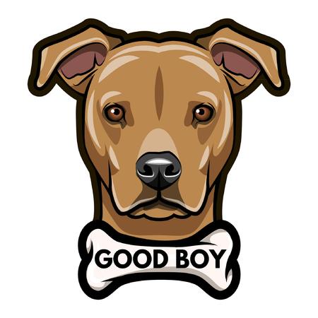 Dog head with Good boy inscription Vector illustration