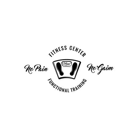 Floor scales icon, Fitness center logo design vector illustration