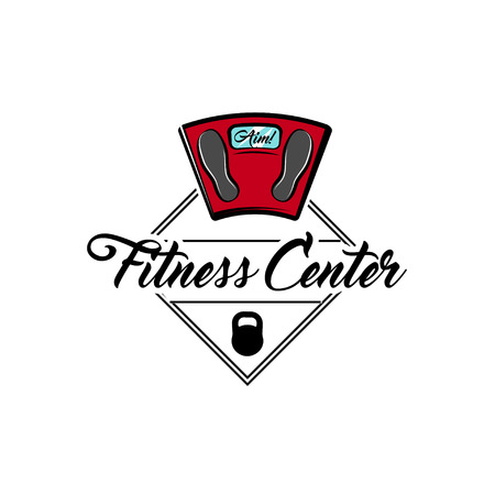 Weight scale icon, Fitness center label vector illustration