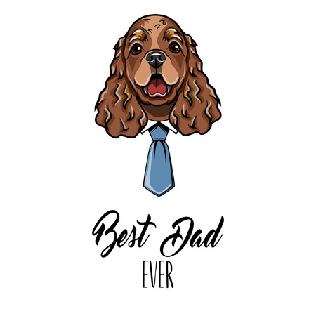 English Cocker Spaniel dad. Fathers day card. Shirt, Necktie. Dad greeting. Cute dog illustration.