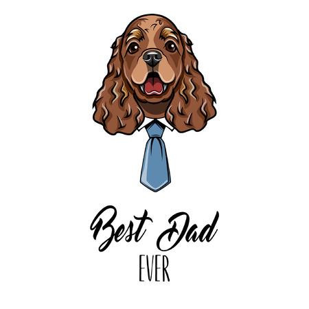 English Cocker Spaniel dad. Fathers day card. Shirt, Necktie. Dad greeting. Cute dog illustration.