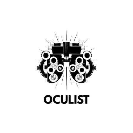 Phoropter, Ophthalmologic equipment. Oculist icon label. Vision test illustration.
