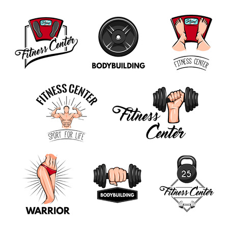 Fitness center labels. Barbell, dumbbell, bodybuilder, sportive body, weight scale. Sport equipment and accessories. Training concept. Vector illustration Stock Illustratie