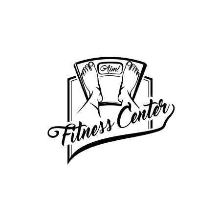 Floor scale. Feet. Fitness center logo label emblem design. Weight loss. Weighing machine icon. Vector illustration