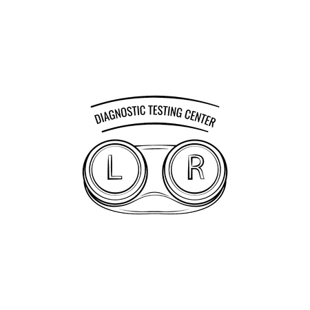 Contact lenses container. Lenses case. Diagnostic testing center logo. Oculist label. Eyesight. Vector illustration Çizim