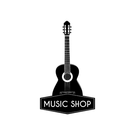 Guitar icon. Music shop logo. Music store label. Acoustic musical instrument sign. Vector illustration