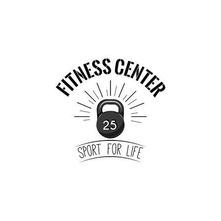 Kettlebell icon. Fitness center logo label. Weight sign. Sport equipment. Sport for life lettering. Vector illustration