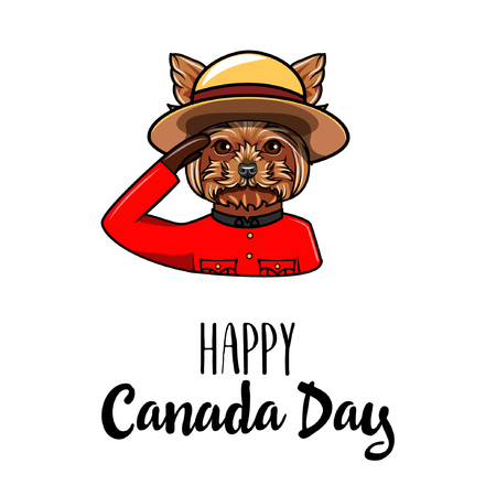 Yorkshire Terrier Dog. Canada day greeting. Royal Canadian Mounted Police. Vector illustration Illustration