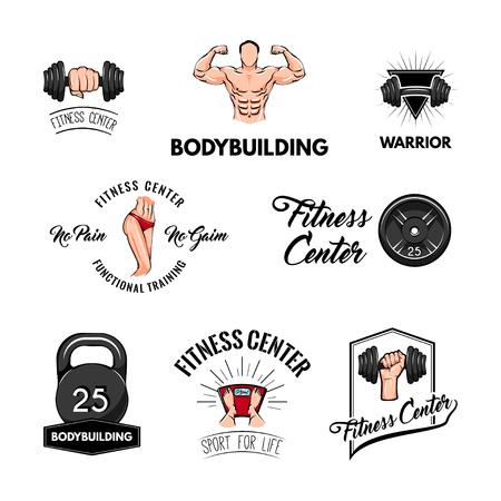 Sports icons. Fitness centre labels. Barbell disk, Dumbbell, Kettlebell, Sportsman, Bodybuilder. Vector illustration Illustration