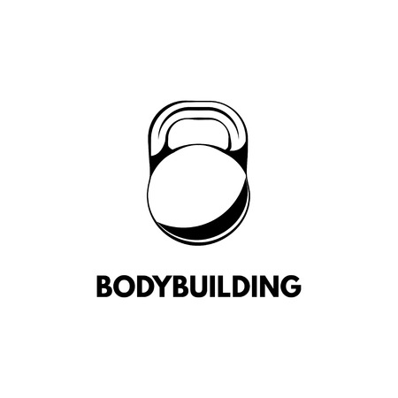 Kettle bell design template, Fitness Logo Bodybuilding badge Vector illustration